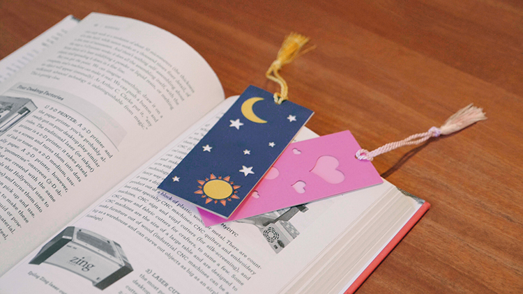 Laser cut paper bookmarks
